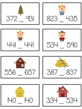 Three Little Pigs Math Folder Game - Common Core - Comparing 3 Digit Numbers