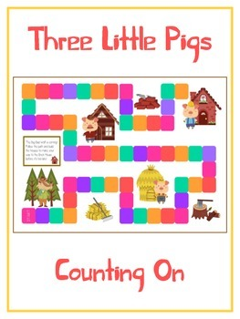 Three Little Pigs Math Folder Game - Common Core - Counting On From Number