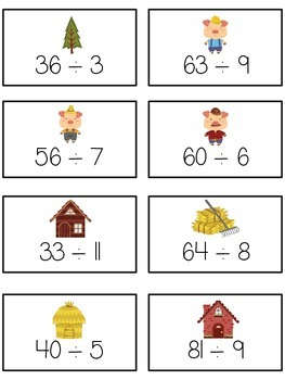 Three Little Pigs Math Folder Game - Common Core - Division - Dividing Numbers