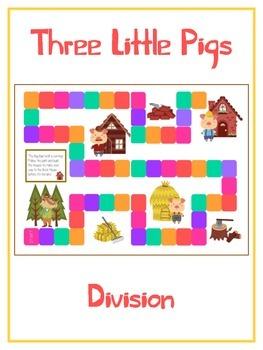 Three Little Pigs Math Folder Game - Common Core - Divisio