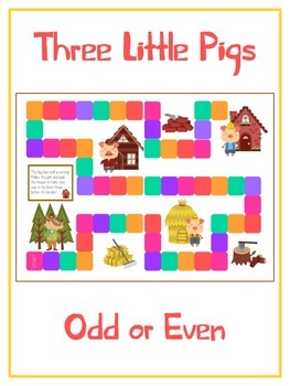 Three Little Pigs Math Folder Game - Common Core - Even an