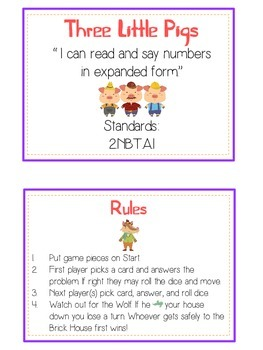 Three Little Pigs Math Folder Game - Common Core - Expanded Form