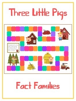 Three Little Pigs Math Folder Game - Common Core - Fact Families