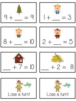 Three Little Pigs Math Folder Game - Common Core - Finding the Missing Part