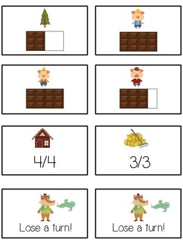 Three Little Pigs Math Folder Game - Common Core - Fractions