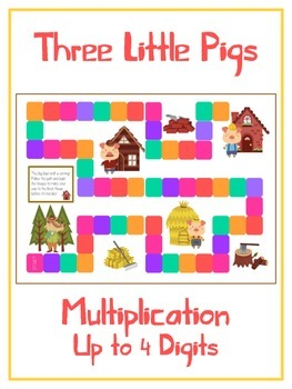 Three Little Pigs Math Folder Game - Common Core - Multiplication 1 2 3 4 Digits