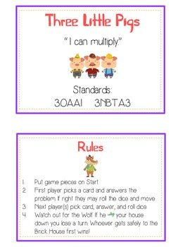 Three Little Pigs Math Folder Game - Common Core - Multiplication