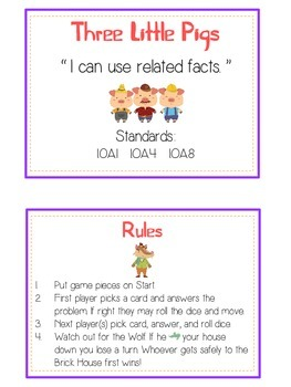 Three Little Pigs Math Folder Game - Common Core - Related Facts