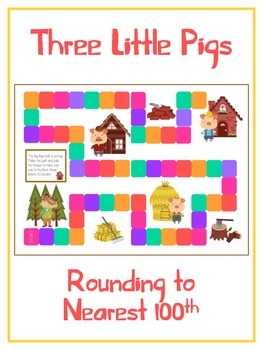 Three Little Pigs Math Folder Game - Common Core - Rounding to Nearest 100th