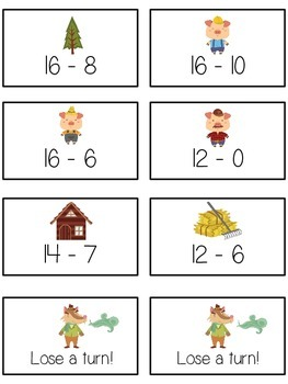 Three Little Pigs Math Folder Game - Common Core - Subtracting 10 to 20