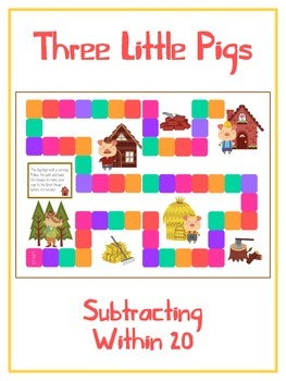 Three Little Pigs Math Folder Game - Common Core - Subtrac