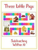 Three Little Pigs Math Folder Game - Common Core - Subtracting within 10