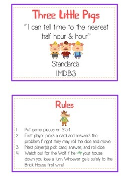 Three Little Pigs Math Folder Game - Common Core - Telling Time Half Hour Hour