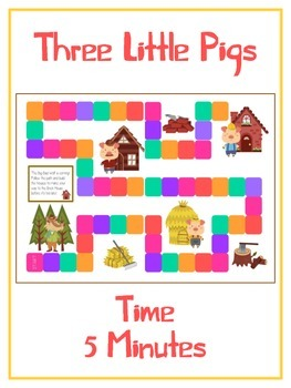 Three Little Pigs Math Folder Game - Common Core - Telling Time within 5 Minutes