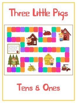 Three Little Pigs Math Folder Game - Common Core - Tens and Ones - Place Value