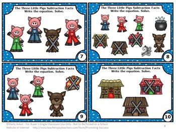 The Three Little Pigs Math, Kindergarten Subtraction with Pictures Task Cards