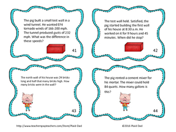Three Little Pigs Math Word Problems Task Cards