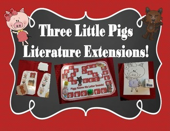 Three Little Pigs Math and Reading Literature Extensions - Games, centers, glyph