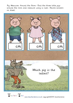 Three Little Pigs Measure Around the Room