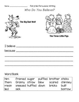 Three Little Pigs Persuasive Writing