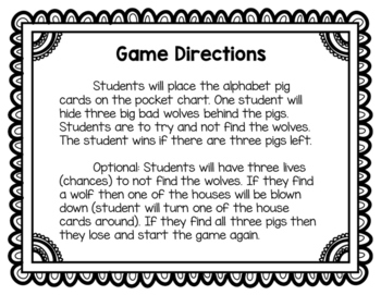 Three Little Pigs Pocket Chart Game