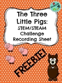Three Little Pigs STEM Recording Sheet