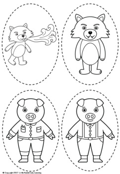 Three little pigs puppets by little hands early learning tpt for The three little pigs puppet templates