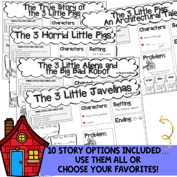 Three Little Pigs Story Element Journals ... pages for 10 story variations!