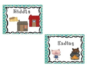 Three Little Pigs Story Elements Poster Set