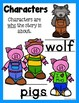 Three Little Pigs Story Elements and Story Retelling Worksheets Pack