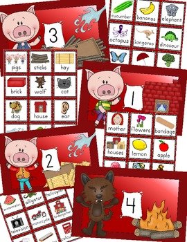 Three Little Pigs Syllable Word Sort Center Activity, 1-4 Syllables