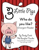 """Three Little Pigs """"Who Do You Like?"""" Emergent Reader - Trace & Write"""