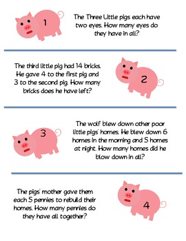 Three Little Pigs Word Problems