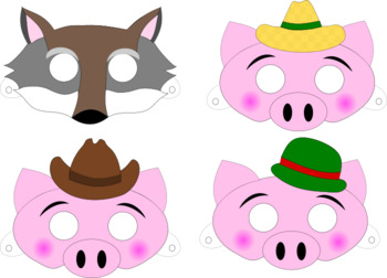 image regarding Printable Pig Mask named 3 Very little Pigs Masks Worksheets Instruction Materials TpT