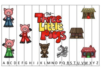 Three Little Pigs themed Alphabet Sequence Puzzle child daycare curriculum activ