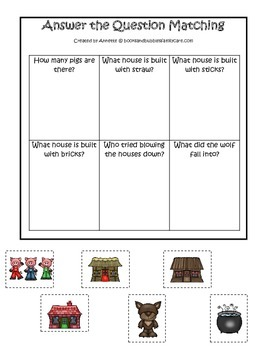 Three Little Pigs themed Answer the Question preschool educational game.