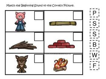 Three Little Pigs themed Beginning Sound preschool educational game.