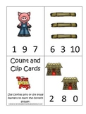 Three Little Pigs themed Count and Clip preschool math cards.  Daycare games.