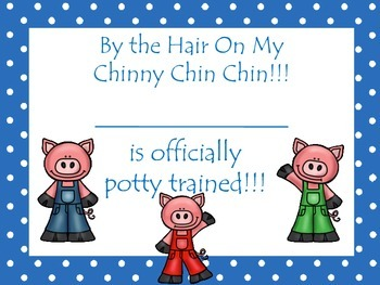 Three Little Pigs themed Daycare Health Hygiene Potty Chart and Certificate