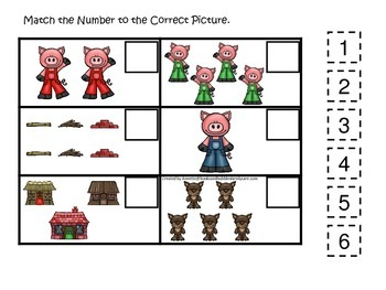 Three Little Pigs themed Match the Number preschool math and numbers game.