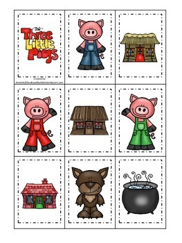 Three Little Pigs themed Memory Matching preschool educational game.