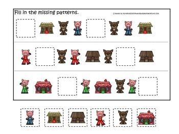 Three Little Pigs themed Missing Pattern preschool educational game.