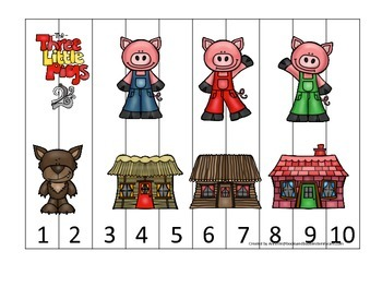 Three Little Pigs themed Number Puzzle preschool educational math numbers game.