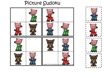 Three Little Pigs themed Picture Sudoku preschool educational game.