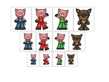 Three Little Pigs themed Size Sorting preschool educational game.