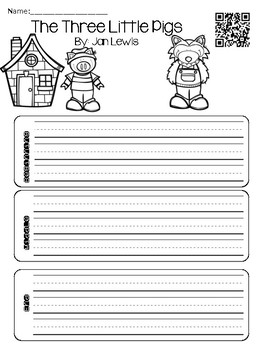 Three Little Pigs with QR Codes Poster & Comprehension Sheets
