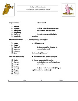 Three Little Wolves & Big Bad Pig Spelling Vocabulary List