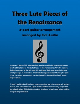 Three Lute Pieces of the Renaissance (sheet music for guitar ensemble)