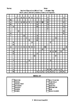Three Math Vocabulary Word Finds / Word Searches