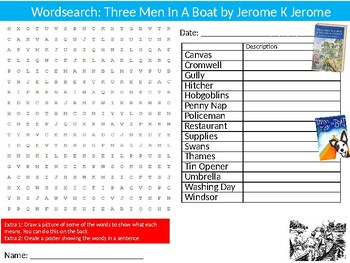 Three Men In A Boat Wordsearch Puzzle Sheet Keywords English Literature Novel